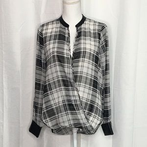 G by Guess Black/White Plaid Drape Wrap Top SZ M
